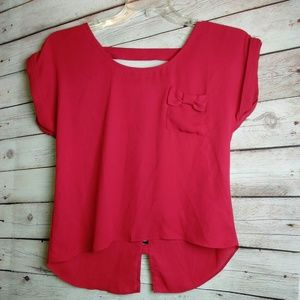 SOCIETY GIRL Deep Red High Low Top